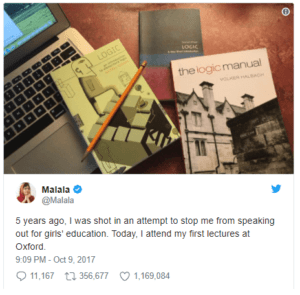 Malala's tweet marking the beginning of her time at Oxford, five years after her attack