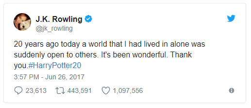 Tweet from J.K. Rowling on the 20th anniversary of the publishing of the first Harry Potter novel