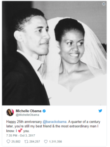 Michelle Obama's tweet celebrating 25 years of marriage