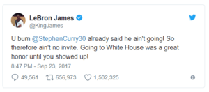 LeBron James reacting to a controversy created by Donald Trump